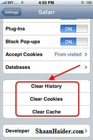 HOW TO : Remove Web History, Cache and Cookies from iPhone