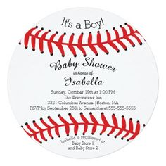 Modern It's A Boy Baseball Baby Shower Invitations Personalized Announcement