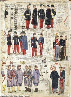 ******** Militaria, Italia XIX secolo. Uniformi varie dello Stato Pontificio, 1865. Tavola dal Codice Cenni.