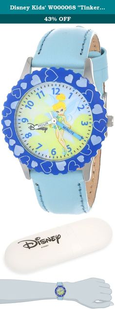 "Disney Kids' W000068 ""Tinker Bell Time Teacher"" Stainless Steel Watch with Blue Leather Band. W000068 Features: -Watch. -Band material: Leather. -Stainless steel case, blue bezel. -Color: Blue. Style: -Children's Watches. Band Material: -Leather. Watch Color: -Blue. Face Color: -White/Beige. Product Type: -Analog. Shape: -Round/Oval. Lifestage: -Kids. Character: -Cinderella."