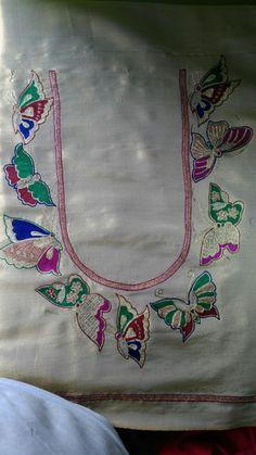 Kids Blouse Designs, Simple Blouse Designs, Blouse Designs Silk, Hand Designs, Aari Embroidery, Hand Embroidery Designs, Machine Embroidery, Maggam Work Designs, Dress Design Sketches