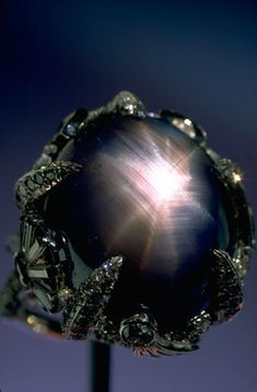 This amazing 12 rayed Star Sapphire, over 70ct, a deep blue from Sri Lanka is part of the Smithsonian Gem and Mineral Collection.