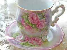 // Tea Cup Saucer, Tea Cups, Victorian Tea Sets, Shabby Chic Flowers, Have A Lovely Weekend, China Mugs, Rose Cottage, China Patterns, Show And Tell