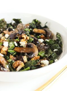 A delicious warm eggplant, mushroom and kale salad with tangy goat cheese, walnuts and balsamic vinaigrette. It's the perfect side dish for cold weather!