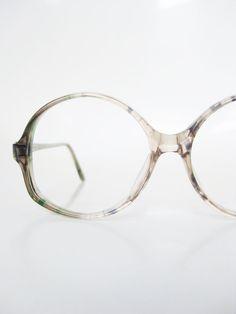 Vintage Round 1970s Eyeglasses Womens Glasses Green Grey Mottled Tortoiseshell Retro 70s Seventies Optical Frames Deadstock Ladies