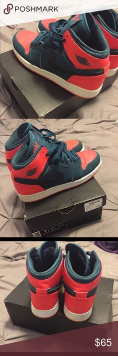 Russell Westbrook Nike Air Jordan Retro 1 Air Jordan, green and orange and black, size 7y Nike Shoes Athletic Shoes