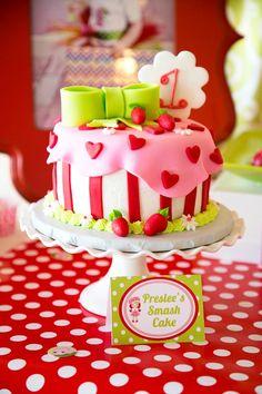 CAKE! Strawberry Shortcake Themed 1st Birthday Party with Such Cute Ideas via Kara's Party Ideas | KarasPartyIdeas.com #strawberryshortcakecake Cake Smash, Strawberry Shortcake Theme Cake, Strawberry Birthday Cake, Strawberry Cakes, Short Cake, 1st Birthday Cakes, First Birthday Parties, 1st Birthday Themes, Birthday Ideas
