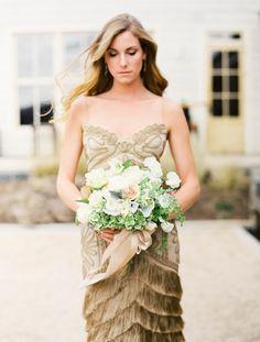 Not a white dress, but still so beautiful.
