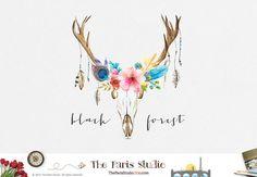 Floral Skull Watercolor Antler Logo Design Pay by TheParisStudio