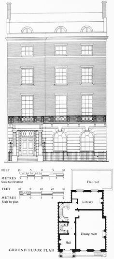 Upper Brook Street South Side Figure 52 No 56 Demolished Elevation And Plan