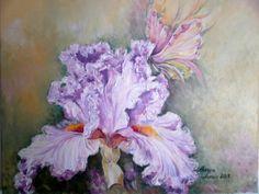 painting oil on canvas Iris, Oil On Canvas, Artworks, Painting, Irises, Painted Canvas, Art Pieces, Painting Art, Paintings