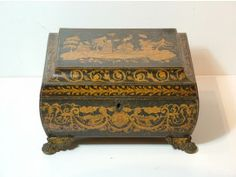 Bombe-shaped Regency Pen-work Sewing Box; made around 1830.