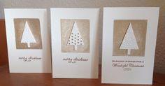 Weihnachtskarten mit der Stanze Tannenbaum von Stampin´up, Hintergrundstempel von Heindesign