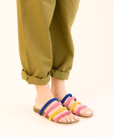 cfc2f861a21765 Charlotte Stone signature cork-bottom. Strappy multi color sandal. Cute and  comfy slide