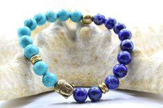 Buddha Bracelet, with Lapis Lazuli and Turquoise Aqua Marine beads. Bracelets For Men, Beaded Bracelets, Lapis Lazuli Bracelet, Buddha Beads, Aqua Marine, Turquoise Bracelet, Bronze, Metal, Gifts