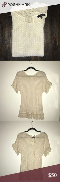 Sanctuary Lace Luna Skimmer Ivory Sweater Sanctuary Lace Luna Skimmer Sweater. Short sleeves and trimmed with lace. Tie in the back. White / ivory color. Sanctuary Sweaters
