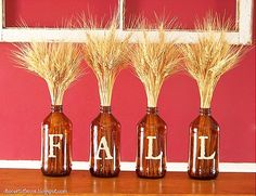 Decoration : Thanksgiving Crafts With Wheat Bottle Decor Fall In Thanksgiving Craft Idea Ideas for DIY Thanksgiving Decorating Thanksgiving Door Decoration Ideas. Thanksgiving Crafts, Thanksgiving Decorations, Fall Crafts, Seasonal Decor, Holiday Crafts, Fall Decorations, Holiday Ideas, Happy Thanksgiving, Holiday Fun