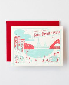 Visit San Francisco Letterpress Greeting Card by helloluckypress, $4.50