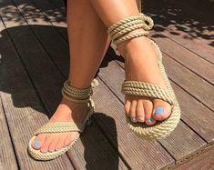 Women's Shoes | Etsy Rope Sandals, Bridal Sandals, Greek Sandals, Bridal Shoes, Gladiator Sandals, Tan Leather Sandals, Black Sandals, Walking, Crochet Shoes