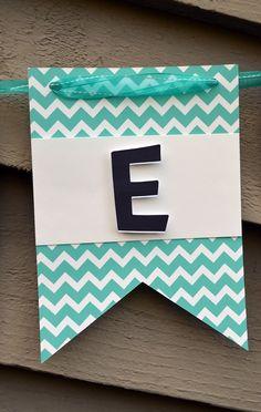 Chevron Striped Elephant Baby Shower Banner - Laurel Lane Crafts - Teal Rectangle Flag