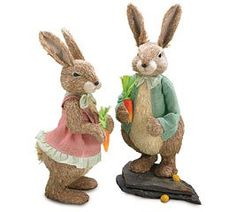 Easter Bunny Rabbit Couple Figurine Set (Boy and girl)