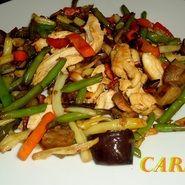 salteado verduras con pollo
