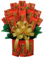 The Reeses Peanut Buttercup Candy Bouquet is one of our best selling candy gifts.  And you know why?  Because everyone loves their chocolate Reeses and what better way to brighten someone's day than sending this gift for delivery.  Send it for a birthday present, a get well gift or to say well done on your assignment (or retirement).  Kids love this as well as college students, send one as a college care package.This Xtra Large Reese's Bouquet consist of12 large double pks. and 12 single pks....