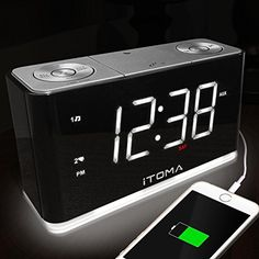 """iTOMA Alarm Clock Radio, Digital FM Radio, Dual Alarm, Cell Phone USB Charge Port, Night Light, Auto & Manual Dimmer, Snooze, Sleep Timer, Auto Time Setting, AUX-IN, Backup Battery (CKS507)  1.4"""" Large White Color LED Display with Auto & Manual Brightness Control  Automatically set up Year, Month, Date and Time once you plug the Power Adapter (120V to 240V) to AC Outlet. Auto Switching for Daylight Saving Times (DST). Backup Battery keeps the Date, Time and Alarm setting even power gon..."""