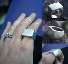 unique mens wedding ring chunky signet ring heavy square face ring unisex band masculine jewelry