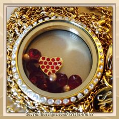 Click photo to order: large gold locket, gold heart charm, july birthstone crystals (red), 1 pack gold pearls (come 3 to a pack). South Hill Designs, Gold Locket, July Birthstone, Love Days, How To Show Love, Click Photo, Heart Of Gold, Heart Charm, Birthstones