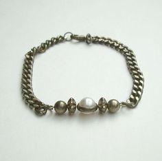 Retro Antiqued Curb Link Bracelet Atomic Pearl Vintage Jewelry