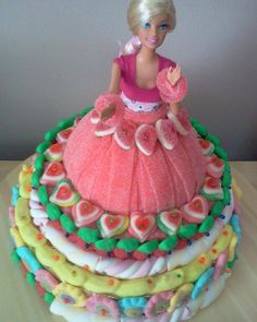 tarta barbie de chuches