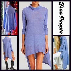 """FREE PEOPLE Tunic Swing Mini Dress  NEW WITH TAGS   ***Model photos utilized in this listing were found on WWW.Lyst.com & WWW.Nordstrom.com*** Free People Tunic Mini   * Relaxed & flowy fit; Lightweight knit fabric   * Mock neck & long sleeves.   * About 33"""" long; Chest about 41"""" around for size S.    * Hem drapes longer on sides; A subtly washed look.   Fabric:53% Cotton, 37% & 10% Rayon; Machine wash cold  Color: Navy Blue 126500  No Trades ✅ Offers Considered*✅  *Please use the blue…"""