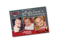 Fun Photo Birthday Invitations - Disney Cars Theme - Print Your Own on Etsy, $12.00