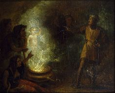 Abbott, John, (1763-1851), Macbeth recoiling from the apparition of the crowned child, 1829, Oil
