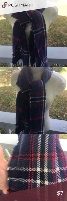 Navy Scarf NWT A beautiful Navy & Red Scarf NWT Accessories Scarves & Wraps