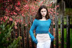 Turquoisecropped sweaterwomen's sweaterknit by Isabellwoolstudio