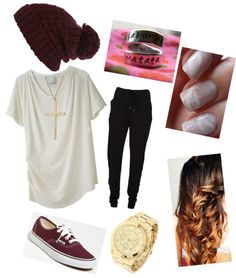 """Maroon School Lazy Day Outfit"" by ccutwright ❤ liked on Polyvore LOVE this color combo"