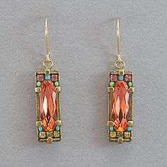 Firefly Rectangular Crystal Earrings - Padparadscha