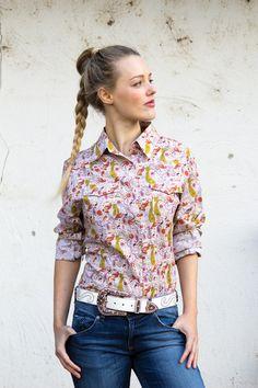 Ladies Prairie Pink Western Shirt | Long Sleeve Ladies Ladies Western Shirts, Ladies Shirts, Work Shirts, Western Wear, Westerns, Floral Tops, Paisley, Long Sleeve Shirts, Men Casual