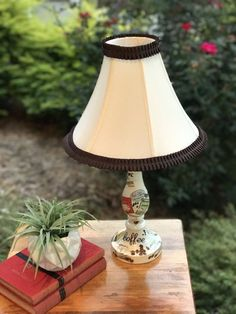 """19"""" tall Lamp,coffee themed lamp,coffee lamp,pleated trim lampshade, decoupaged,cream lamp, brown lamp,kitchen lamp,coffee cups,coffee beans by HolyChicBoutiqueCo on Etsy"""