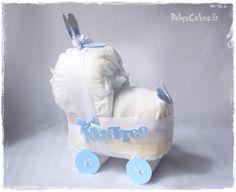 Cadeau de naissance personnalisé, mini landau de couches lapin bleu