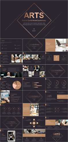 T Gold black work report PowerPoint template---You can find Presentation and more on our . Powerpoint Background Templates, Simple Powerpoint Templates, Creative Powerpoint, Background Ppt, Layout Template, Keynote Template, Ppt Template Design, Web Design, Design Ideas