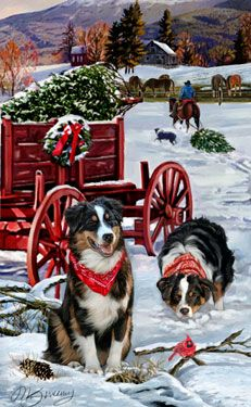 """New for 2013! Australian Shepherd Christmas Holiday Cards are 8 1/2"""" x 5 1/2"""" and come in packages of 12 cards. One design per package. All designs include envelopes, your personal message, and choice of greeting. Select the inside greeting of your choice from the menu below.Add your custom personal message to the Comments box during checkout."""