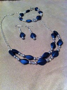 Beaded Necklace Handmade Beaded Jewelry Blue Beads By JesRoy, $32.00