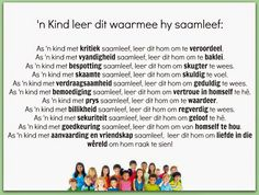 Afrikaanse Inspirerende Gedagtes & Wyshede: 'n Kind leer dit waarmee hy saamleef: Afrikaanse Quotes, Father's Day, Favorite Quotes, Helpful Hints, Things To Think About, Kids, Inspiration, Raising, Classroom Ideas