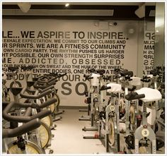 If only there were a soul cycle or spin class close to me...one day I might just have to make it happen myself! :)  A girl can dream! Fit Board Workouts, Fun Workouts, Motivation Wall, Fitness Motivation, Spin City, Gym Decor, Yoga, Living A Healthy Life, Fitness Studio