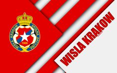 Download wallpapers Wisla Krakow FC, 4k, logo, material design, Polish football club, red white abstraction, Krakow, Poland, Ekstraklasa, football