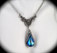 Vintage Style, Peacock Blue Crystal Necklace, Blue Necklace, Filigree Teardrop Pendant, Antiqued Sterling Silver Victorian Bridal, Wedding. $48.00, via Etsy.