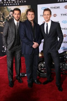 Tom Hiddleston, Zachary Levi and Nathan Fillion attend the premiere of Marvel's 'Thor: The Dark World'. THIS PICTURE HAPPENED. // LIKE I JUST CAN'T EVEN